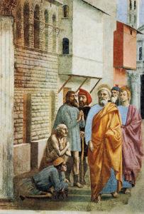 """Masaccio: """"San Pedro cura a los enfermos con su sombra"""""""
