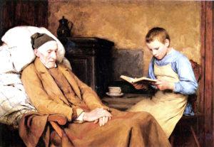 "Albert Anker: ""Leyendo al abuelo"""