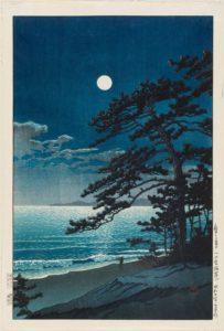 kawase hasui luna de primavera en la playa ninomiya